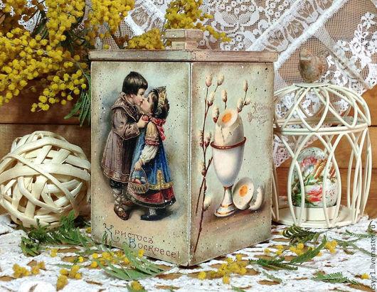 """Подарки на Пасху ручной работы. Ярмарка Мастеров - ручная работа. Купить короб для сладостей """"Христосъ Воскресе"""". Handmade. Бежевый, Пасха"""