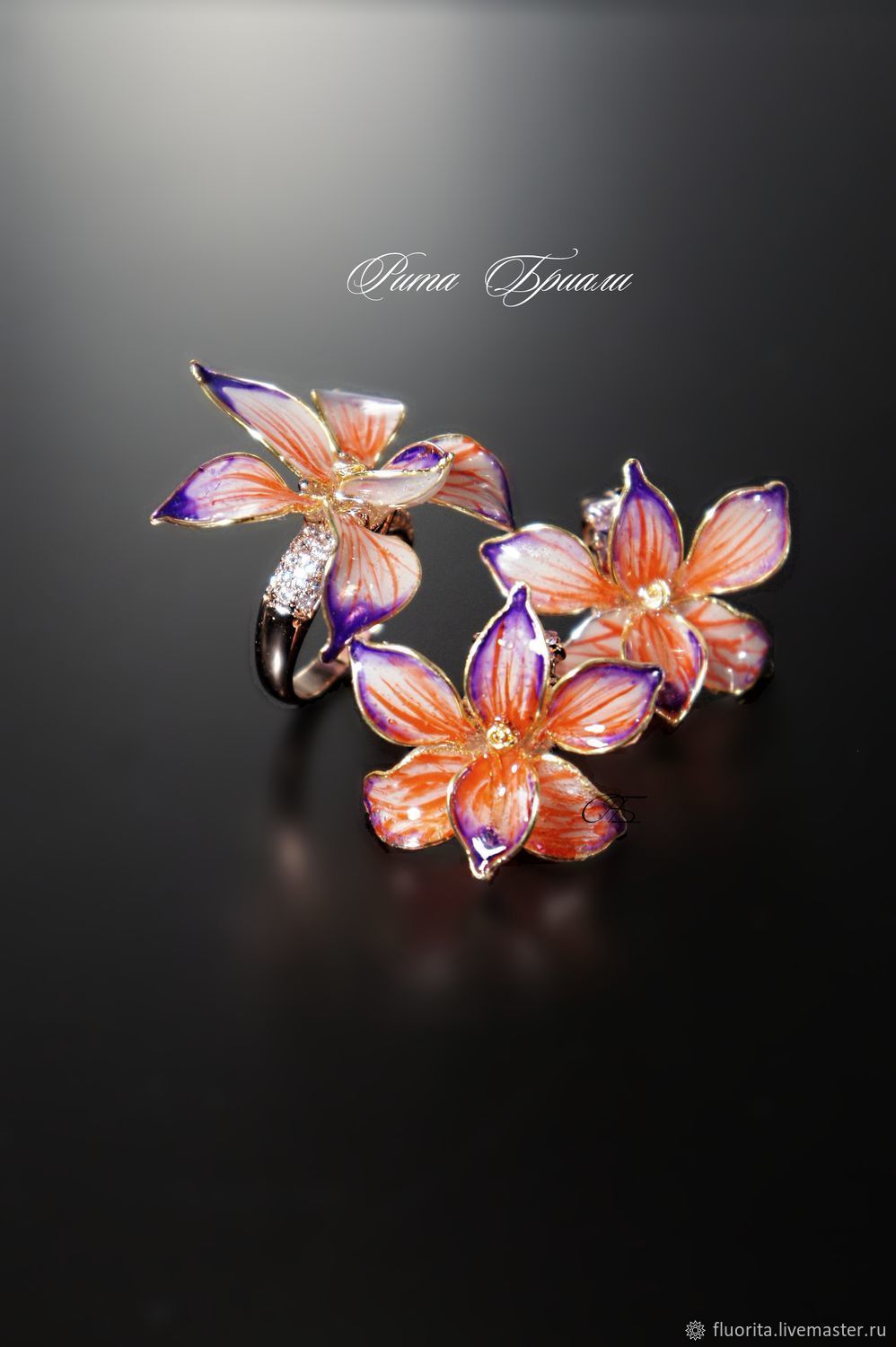 Jewelry jewelry 'Orchid', LIVE, rare stained glass decoration, Jewelry Sets, St. Petersburg,  Фото №1