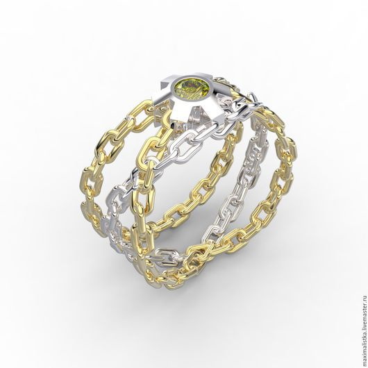 """Кольца ручной работы. Ярмарка Мастеров - ручная работа. Купить Кольцо """"Цепи и шестерня"""" с бриллиантом жёлтым, золотое, золото, BDSM. Handmade."""