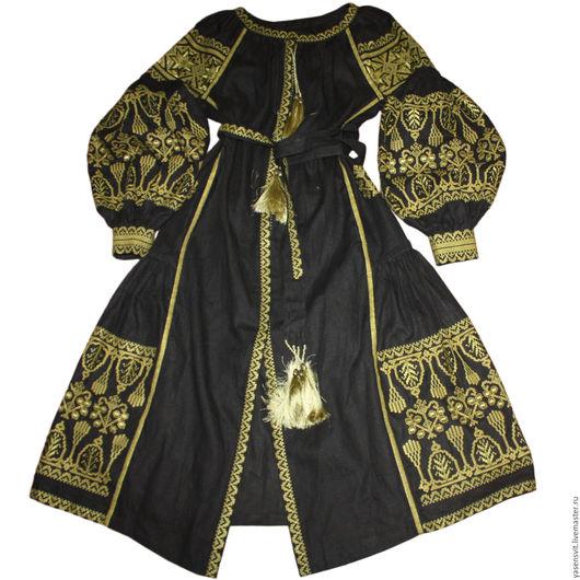 Платья ручной работы. Ярмарка Мастеров - ручная работа. Купить Вышитое Льняное платье Черное длинное платье Украинская вышиванка 2108. Handmade.