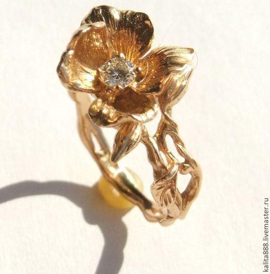 Кольца ручной работы. Ярмарка Мастеров - ручная работа. Купить Кольцо цветок с бриллиантом. Handmade. Колье ручной работы