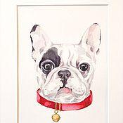 Картины и панно handmade. Livemaster - original item Watercolor French bulldog watercolor Painting. Handmade.