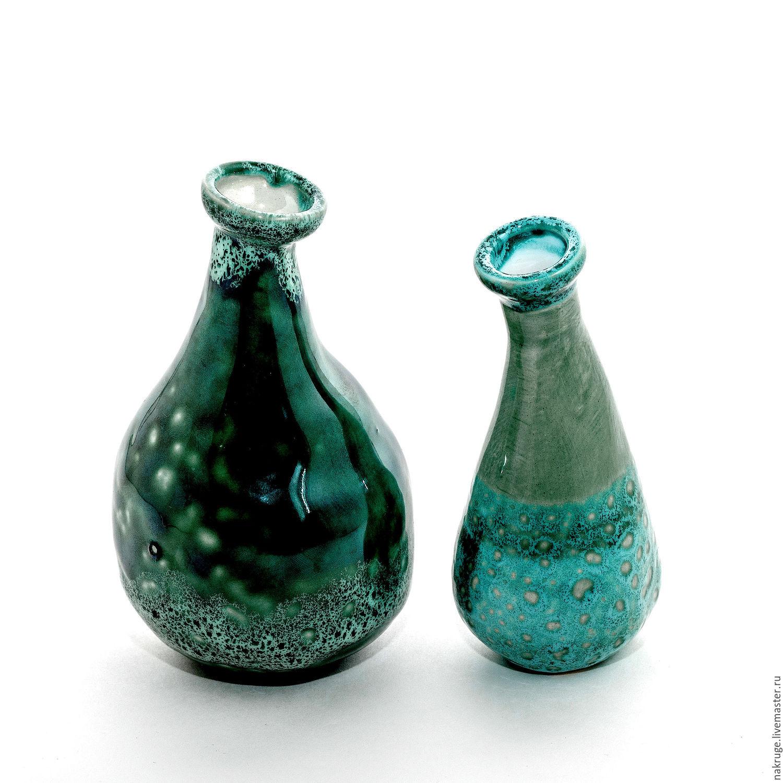 Вазы ручной работы. Ярмарка Мастеров - ручная работа. Купить Комплект декоративных вазочек. Handmade. Зеленый, керамика ручной работы