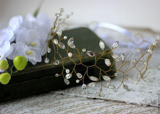 Свадебные украшения ручной работы. Ярмарка Мастеров - ручная работа. Купить Свадебный венок из кристаллов и жемчуга. Венок для невесты. Handmade.