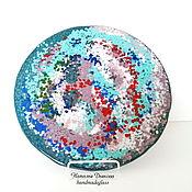 """Картины и панно ручной работы. Ярмарка Мастеров - ручная работа Панно из стекла """"Звездная пыль"""", 30 см, фьюзинг, абстракция. Handmade."""