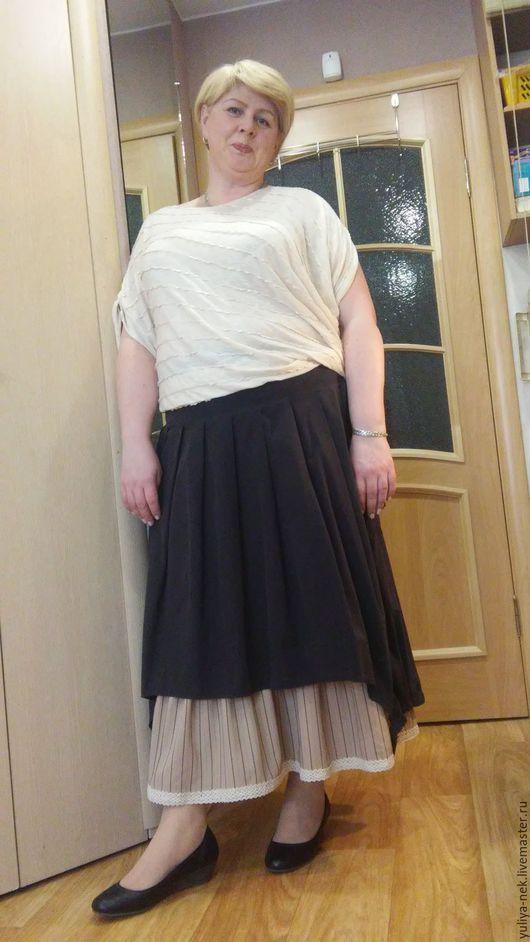"""Большие размеры ручной работы. Ярмарка Мастеров - ручная работа. Купить Юбка двойная""""мокрый асфальт"""". Handmade. Черный, юбка длинная"""