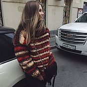 Свитеры ручной работы. Ярмарка Мастеров - ручная работа Теплый женский свитер с цветным узором. Handmade.