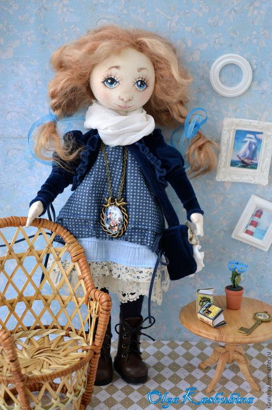 Коллекционные куклы ручной работы. Ярмарка Мастеров - ручная работа. Купить Авторская текстильная кукла. Handmade. Голубой, текстильная кукла