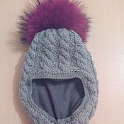 Работы для детей, ручной работы. Ярмарка Мастеров - ручная работа Шапка-шлем с меховым помпоном. Handmade.