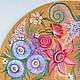 фрагмент декоративного панно на виниловой пластинке Знойное лето, роспись акриловыми красками