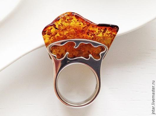 Кольца ручной работы. Ярмарка Мастеров - ручная работа. Купить кольцо. Handmade. Янтарь натуральный, слезы моря
