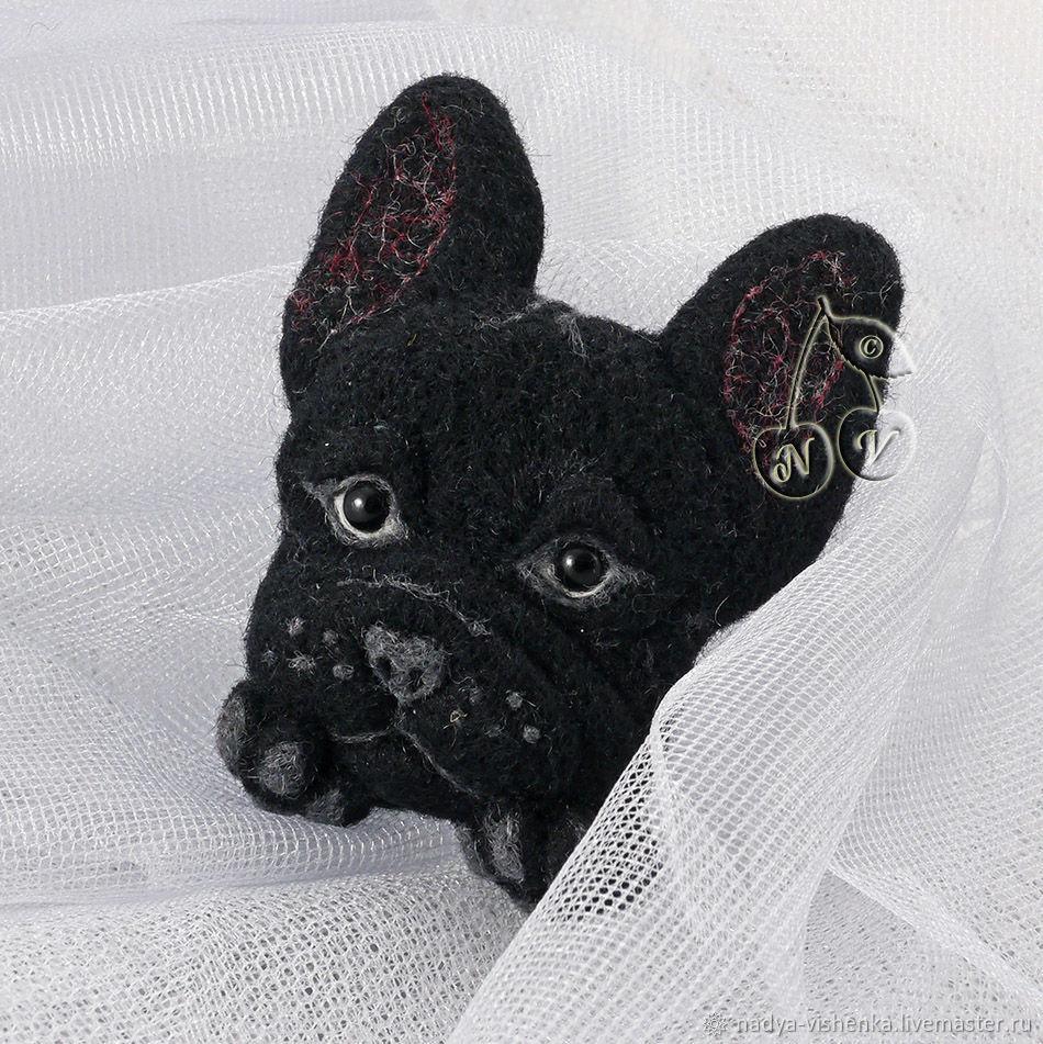 Броши ручной работы. Ярмарка Мастеров - ручная работа. Купить Брошь Французский бульдог (брошь валяная, брошь собака,валяная брошка). Handmade.