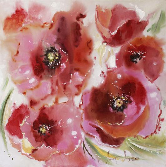 Картины цветов ручной работы. Ярмарка Мастеров - ручная работа. Купить Poppies. Handmade. Картина с цветами, картина в розовых тонах