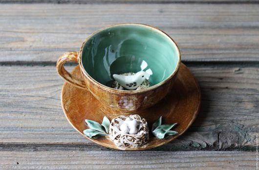 """Сервизы, чайные пары ручной работы. Ярмарка Мастеров - ручная работа. Купить Чайная пара """"Семейное гнездышко"""" №29. Handmade."""