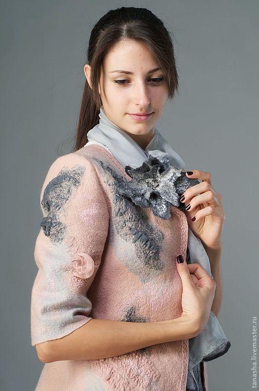 валяный стильный жакет лучший подарок для осени зимы весны нежность тепло