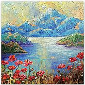 Картины и панно handmade. Livemaster - original item Painting of the mountain with a palette knife
