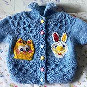 Работы для детей, handmade. Livemaster - original item Knitted children`s suit for spring (Alpaca, cashmere, blue, white). Handmade.