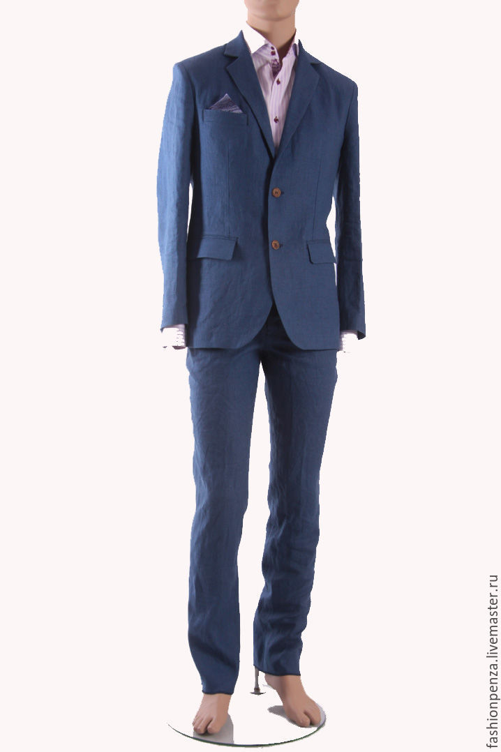 Men's suit of blue linen, Mens suit, Penza,  Фото №1
