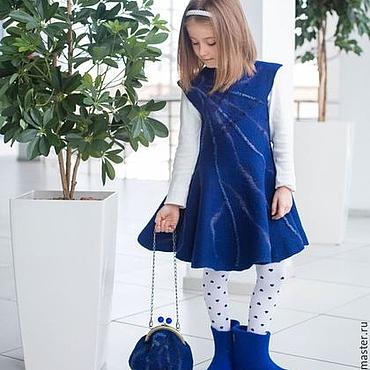 Работы для детей, ручной работы. Ярмарка Мастеров - ручная работа Валяное платье для девочек Синий иней. Handmade.