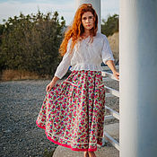 Одежда handmade. Livemaster - original item Linen skirt with lace in the style of Provence