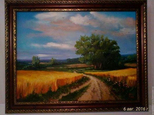 Пейзаж ручной работы. Ярмарка Мастеров - ручная работа. Купить Золотое поле. Handmade. Оранжевый, подарок, подарок на любой случай