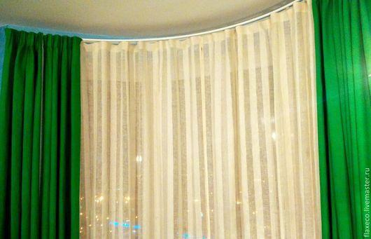 Текстиль, ковры ручной работы. Ярмарка Мастеров - ручная работа. Купить Льняные шторы «Лето». Ручная работа.. Handmade. Зеленый