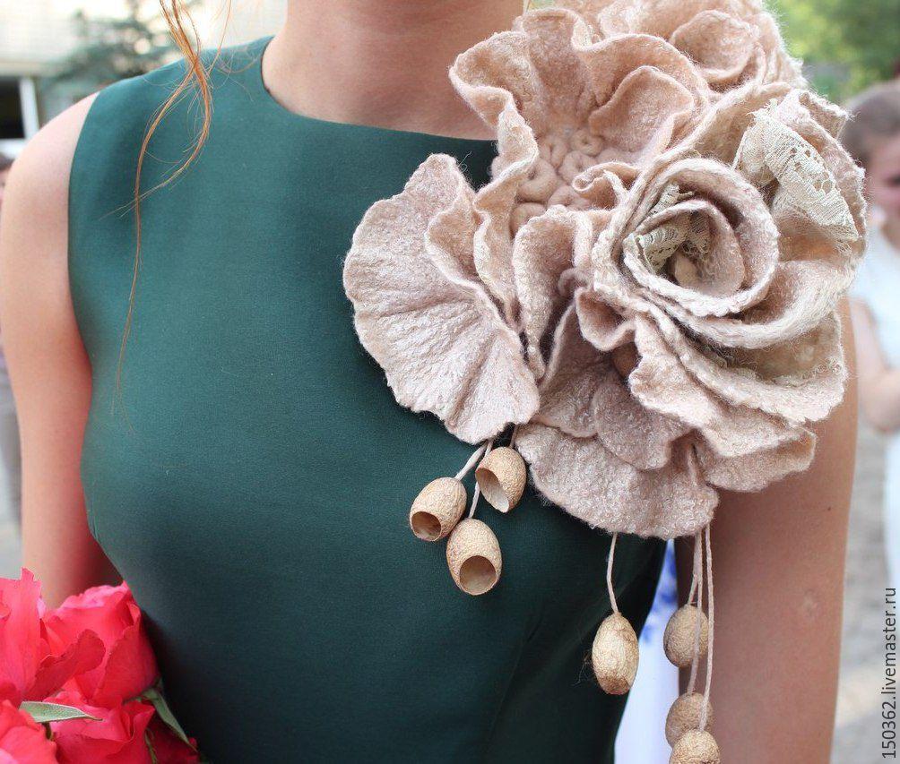 Цветок украшение из материи на платье как сделать