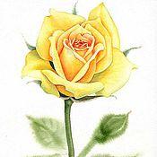 """Картины и панно ручной работы. Ярмарка Мастеров - ручная работа Акварельная картина """"Желтая роза"""". Handmade."""