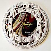 Для дома и интерьера handmade. Livemaster - original item Wall clock made of wood and glass round Bordeaux. Handmade.
