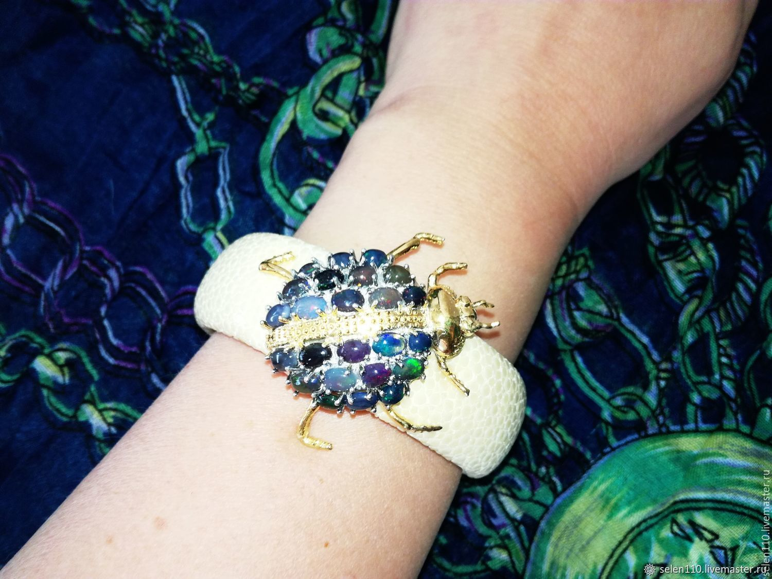 Bracelet 'may beetle' with black opals, Stingray leather, Bead bracelet, Voronezh,  Фото №1