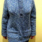 Одежда ручной работы. Ярмарка Мастеров - ручная работа Джемпер вязаный бесшовный синий с карманами и боковыми разрезами. Handmade.