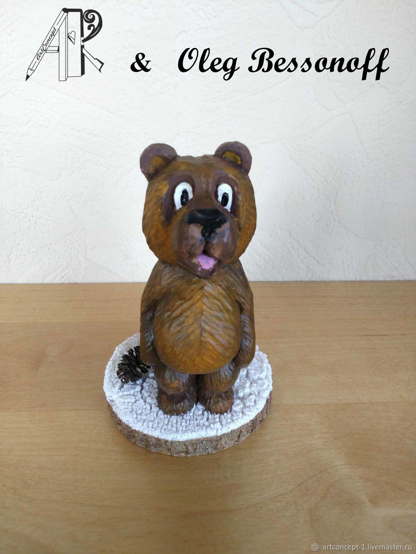 Christmas tree toy made of wood carved figurine miniature Bear, Christmas decorations, Ryazan,  Фото №1