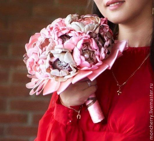 Нежный свадебный брошь букет невесты из атласной ткани, брошей, пуговиц handmade