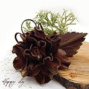Украшения handmade. Livemaster - original item Brooch flower rose leather brown. flower made of leather. Handmade.