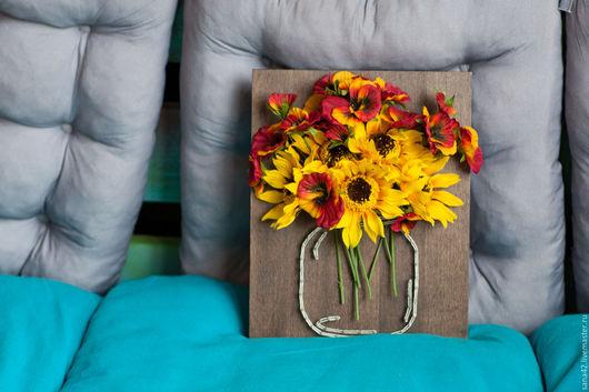 Картины цветов ручной работы. Ярмарка Мастеров - ручная работа. Купить Банка с цветами в технике String Art. Handmade. Комбинированный
