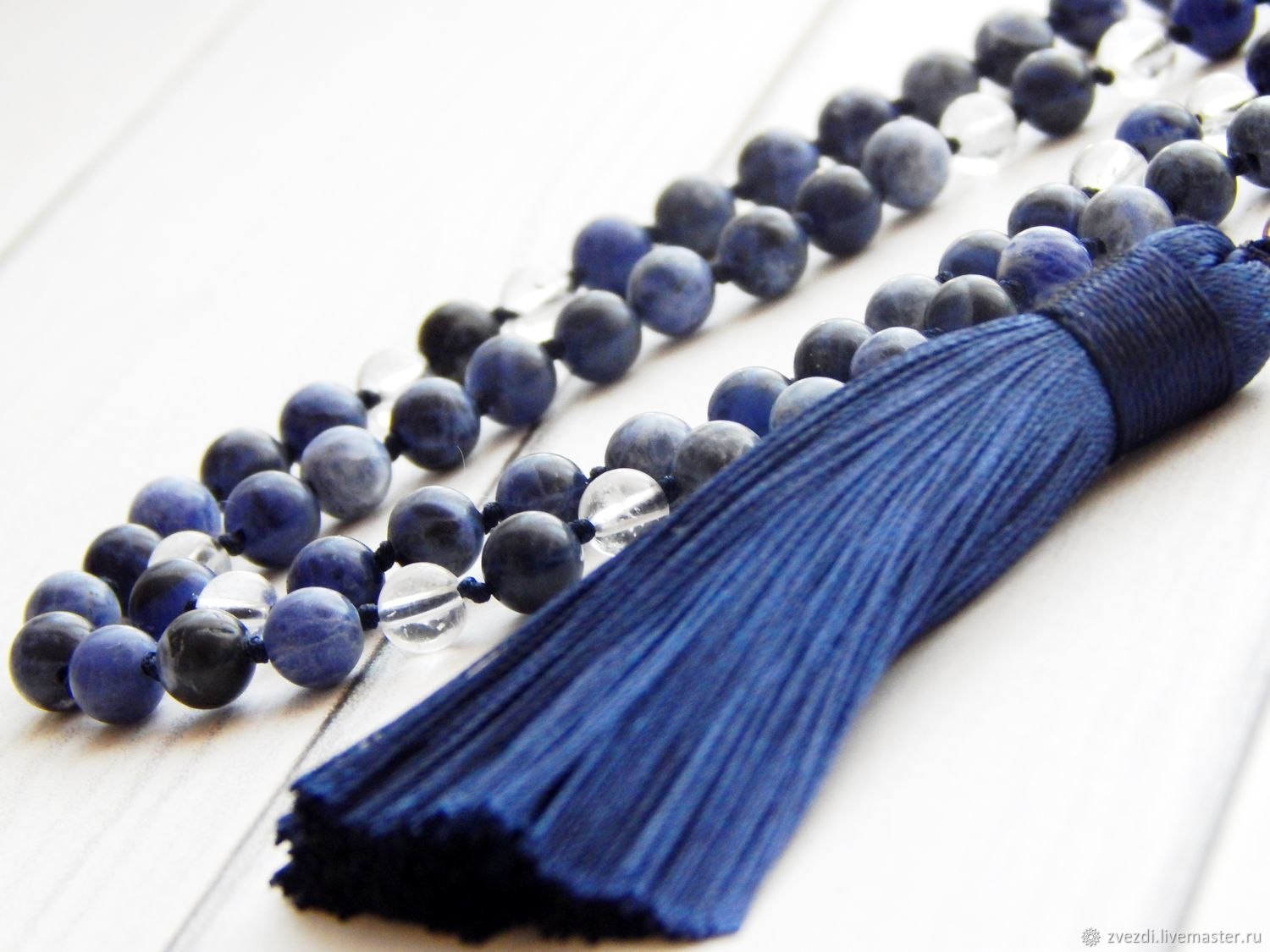 Rosary made of sodalite and rock crystal 108 stones, Rosary, Minusinsk,  Фото №1