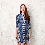 Одежда ручной работы. Ярмарка Мастеров - ручная работа Синее платье прямого покроя. Handmade.