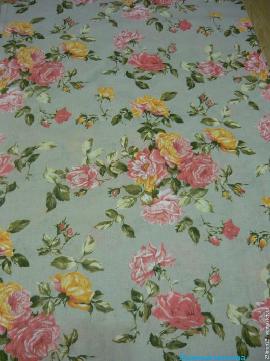 Шитье ручной работы. Ярмарка Мастеров - ручная работа. Купить Ткань лен Пышные розы. Handmade. Розовый, льняная ткань