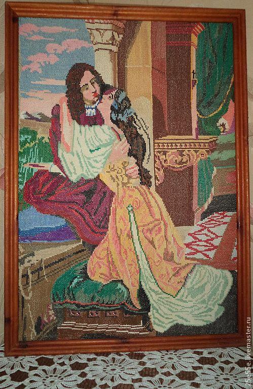 """Винтажные предметы интерьера. Ярмарка Мастеров - ручная работа. Купить Вышитая картина """"Ромео и Джульета"""". Handmade. Вышивка, винтажный стиль"""