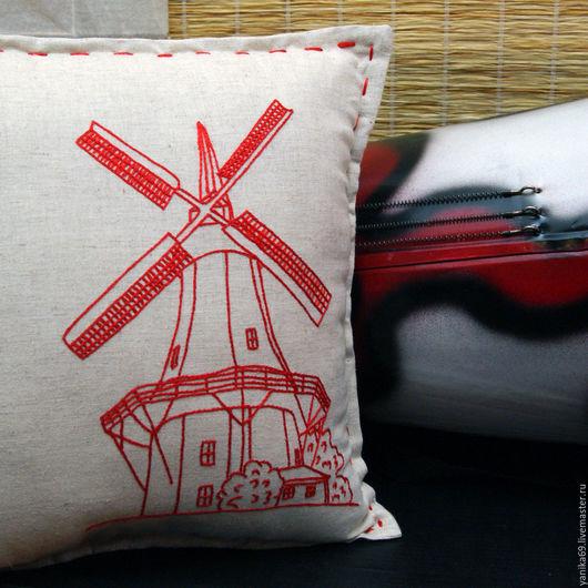 Текстиль, ковры ручной работы. Ярмарка Мастеров - ручная работа. Купить Интерьерная подушка с вышивкой Мельница. Handmade. Подушка декоративная