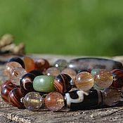 Фен-шуй и эзотерика handmade. Livemaster - original item Dzi dzi Bracelet in two turns, jade, rutile quartz. Handmade.