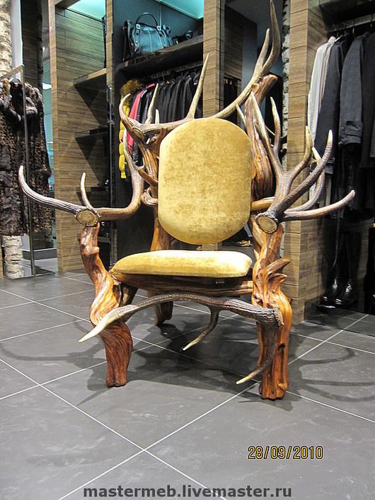 Furniture handmade. Livemaster - handmade. Buy A throne of wood.Handmade, exclusive work, deer antler, velvet
