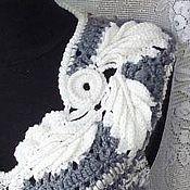 Одежда ручной работы. Ярмарка Мастеров - ручная работа Стильный оригинальный вязаный бохо-жилет в серо-белой гамме. Handmade.