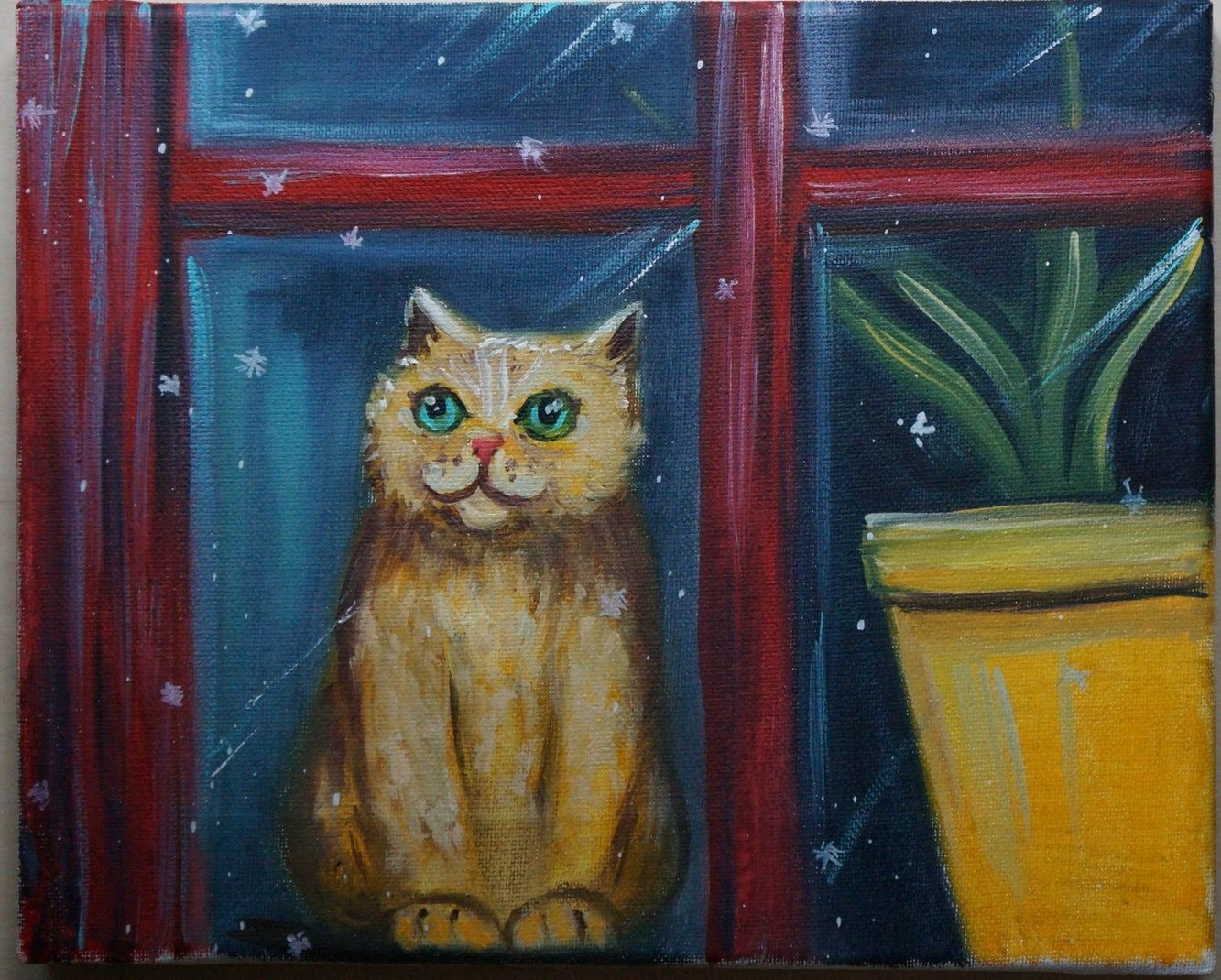 Oil painting ' cat meets winter', Pictures, Kemerovo,  Фото №1