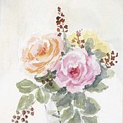 Картины и панно handmade. Livemaster - original item Still Life Cocktail. a bouquet of roses. Watercolor. Handmade.