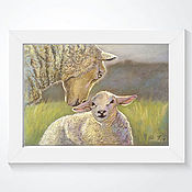 Pictures handmade. Livemaster - original item Painting pastel Mother and cub (olive khaki lamb). Handmade.