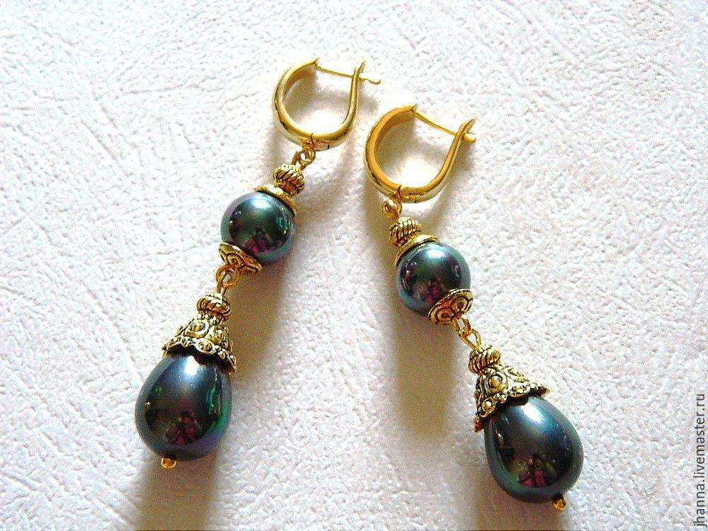 Earrings With Black Pearls Of Mallorca Design Jewelry Online Ping On