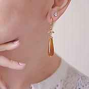 Украшения handmade. Livemaster - original item Elegant earrings with honey agate in 24K gold. Handmade.