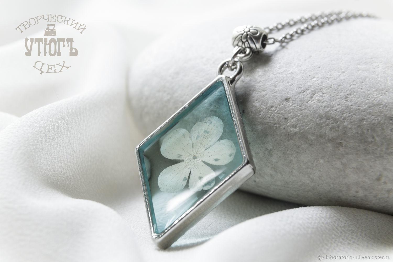 Blue translucent pendant with a real flower resin, Pendant, Samara,  Фото №1