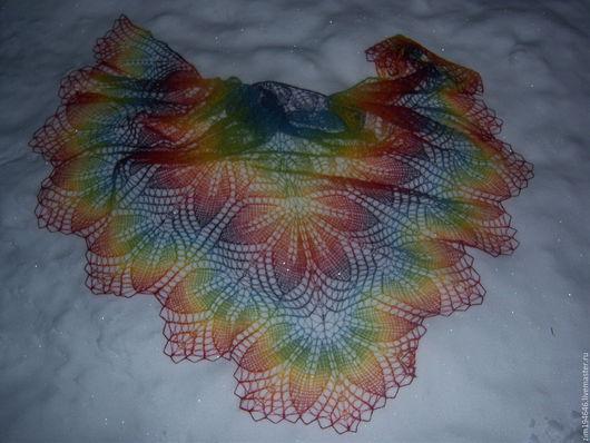 Шали, палантины ручной работы. Ярмарка Мастеров - ручная работа. Купить шаль Харуни с двойной каймой. Handmade. 100% шерсть